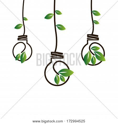 bulb with leafs ecology symbol vector illustration design