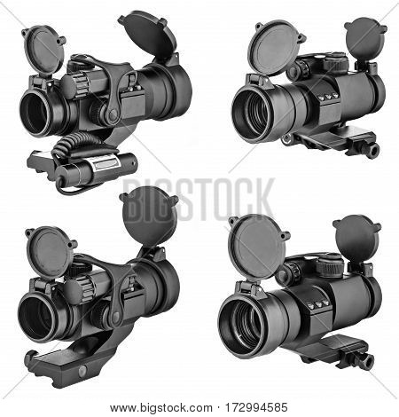 Sights for weapons, on an isolated white background