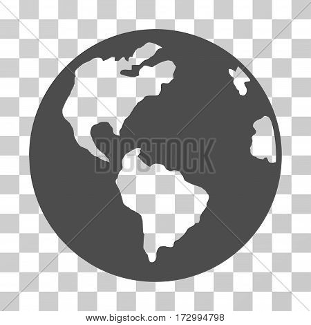 Planet Earth vector pictograph. Illustration style is flat iconic gray symbol on a transparent background.