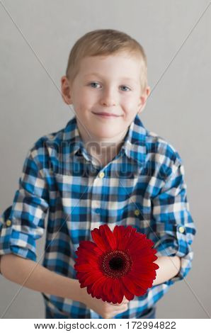 Little Boy With Red Flower