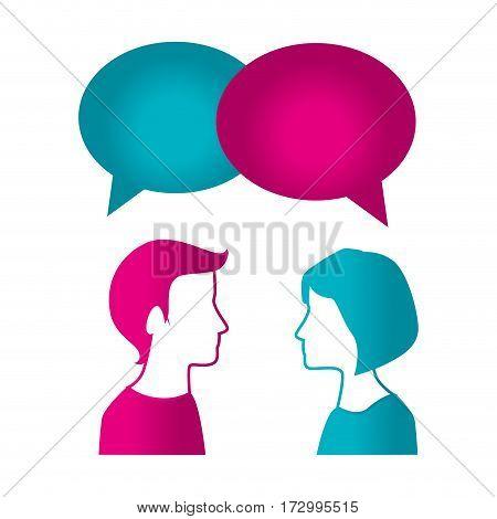 couple with speech bubble vector illustration design