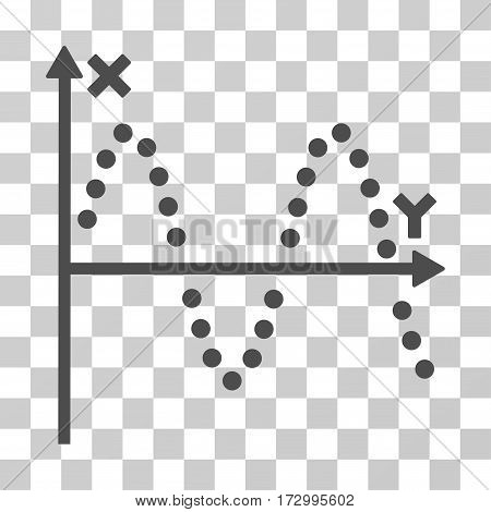 Sine Plot vector pictograph. Illustration style is flat iconic gray symbol on a transparent background.