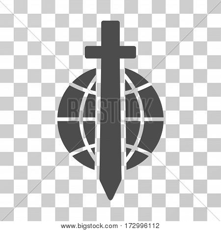 Sword Globe vector pictograph. Illustration style is flat iconic gray symbol on a transparent background.