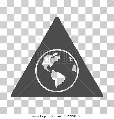 Terra Triangle vector icon. Illustration style is flat iconic gray symbol on a transparent background.