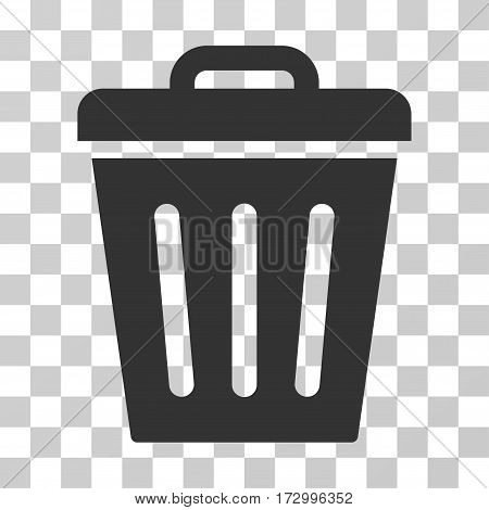 Trash Can vector pictograph. Illustration style is flat iconic gray symbol on a transparent background.