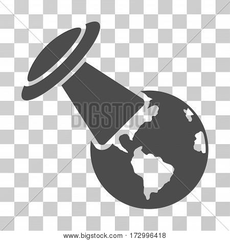 UFO Explores Earth vector pictograph. Illustration style is flat iconic gray symbol on a transparent background.