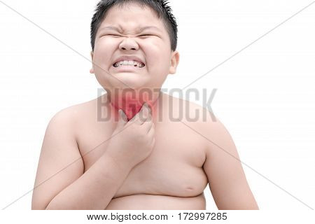 Obese Fat Boy Scratch The Itch With Hand, Throat Irritation, Isolated