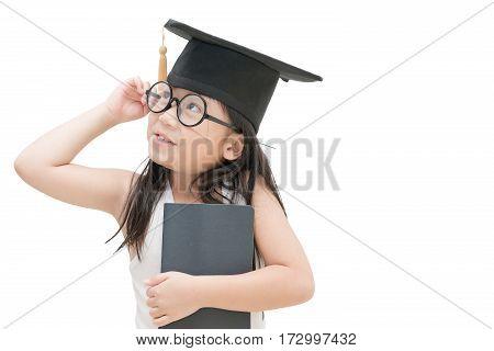 School Kid Graduate Thinking With Graduation Cap Isolated