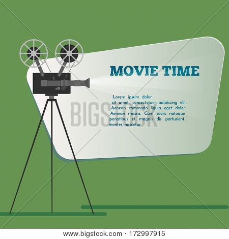 Movie time poster. Cartoon vector illustration. Cinema motion picture.