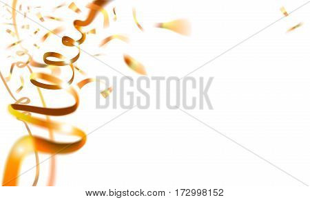 Carnival Background with Gold Streamer and Confetti, vector illustration.