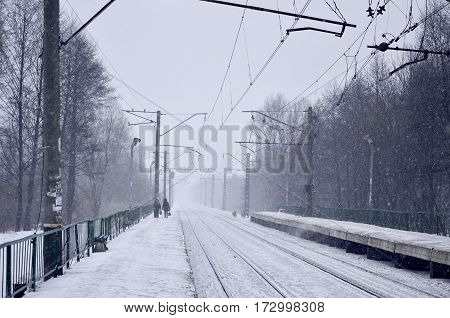 Railway Station In The Winter Snowstorm