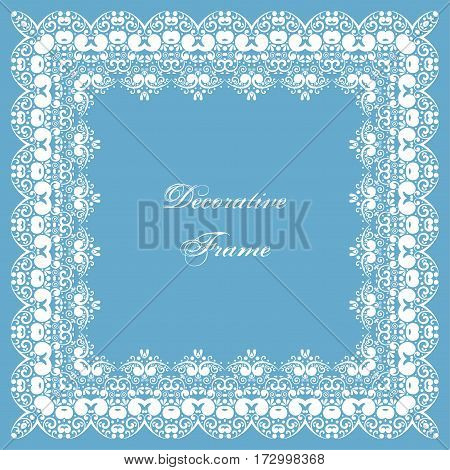 Decorative square frame with swirls. Ornamental background for greeting card or wedding invitation. Vector Illustration