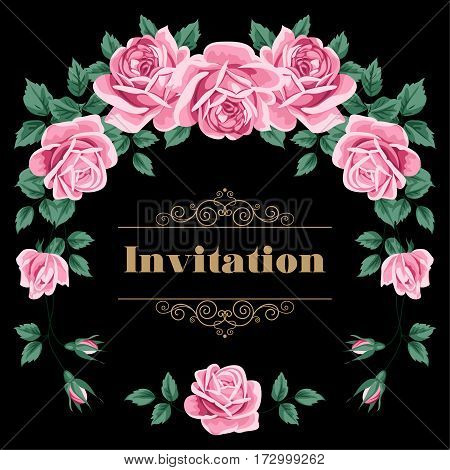 Bridal Shower Wedding Invitation or Save the Date card template with roses. Vector Illustration