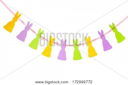 Paper Easter garland on white background