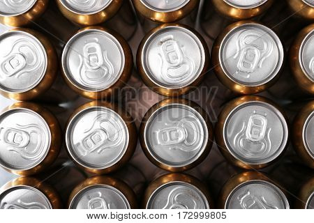 Cans of beer, top view