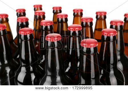 Bottles of beer on white background
