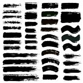 Grunge paint vector. Painted brush strokes stripes. Rectangle text box set. Distress texture backgrounds. Hand drawn banners, labels. Black textured design elements. Grungy scratch effect paintbrush poster