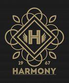 Geometric monogram vintage abstract logo vector. Luxury insignia logo vector. Monogram emblem insignia. Vector monogram sign. Isolated monogram symbol. Luxury logo for abstract brand. Vintage monogram logo on black background. poster