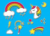 Stickers set with unicorn, rainbow, star, cloud, magic wand  for girls. Cool decoration elements isolated on blue. Vector comic cartoon 80s-90s style. Cute set of fashion patch badges, pins poster