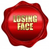 losing face, 3D rendering, red wax stamp with text poster