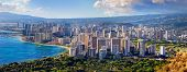 Spectacular view of Honolulu city Oahu Hawaii poster