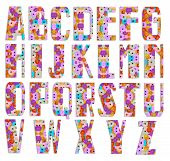 ALL font made from flower tiles isolated on white background poster