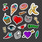 Sweet quirky badges set with food, hearts and cat on dark background. Vector colorful stickers and patches collection poster