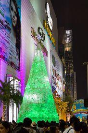 Bangkok, Thailand - December 24, 2011: Christmas Light Decoration for Winter Festival at Siam Paragon Shopping Mall