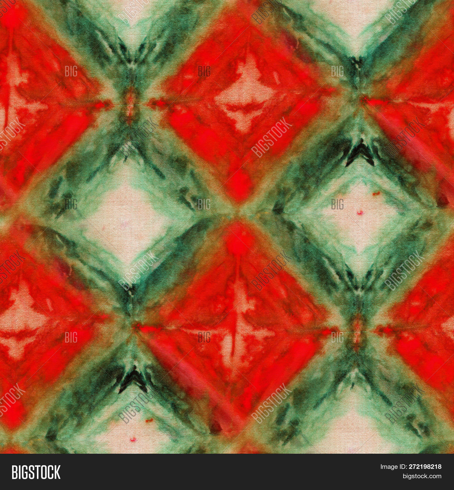 cb5594d34b97 Seamless tie-dye pattern of green and red color on white silk. Hand  painting fabrics - nodular batik. Shibori dyeing.8