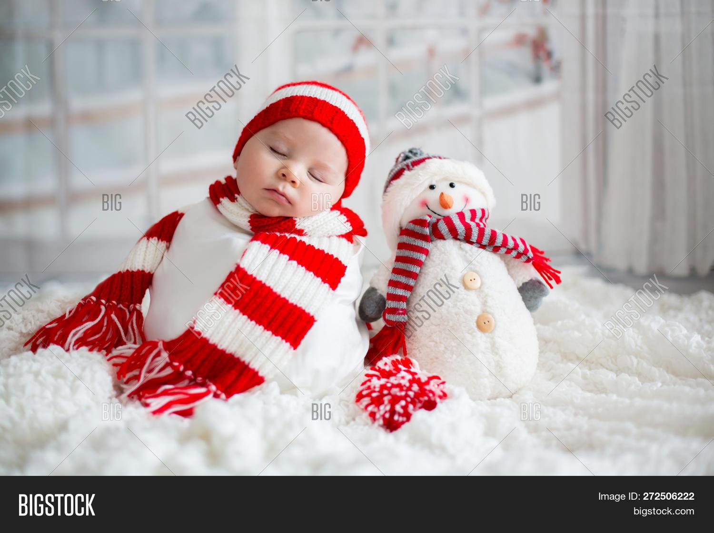 2b2e528fe054a Christmas Portrait Of Cute Little Newborn Baby Boy