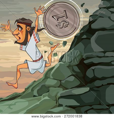Cartoon Man Sisyphus Runs Down The Mountain He Is Overtaken By Coin