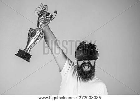 Championship Online. Man Winner Virtual Competition. Feel Victory In Virtual Reality Games. Achieve