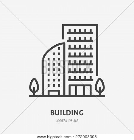 Apartment Building Flat Line Icon. Vector Thin Sign Of Multi-storey House, Condo Or Office Rent Logo