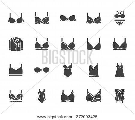 Lingerie Flat Glyph Icons Set. Bras Types, Woman Underwear, Maternity Bra, Chemise, Pyjamas, Swimwea