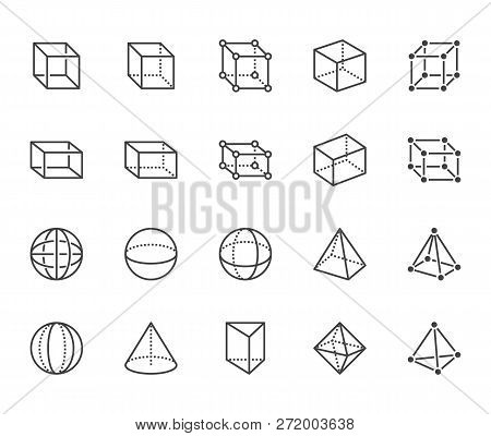 Geometric Shapes Flat Line Icons Set. Abstract Figures Cube, Sphere, Cone, Prism Vector Illustration