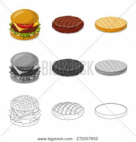 Isolated Object Of Burger And Sandwich Logo. Collection Of Burger And Slice Stock Vector Illustratio