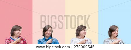 Collage of down syndrome woman over colorful stripes isolated background cheerful with a smile of face pointing with hand and finger up to the side with happy and natural expression on face