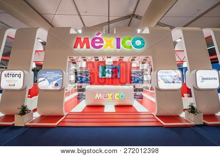 Farnborough, Uk - July 20: Trade Stand Showcasing Mexican Aviation Based Business Opportunities At A