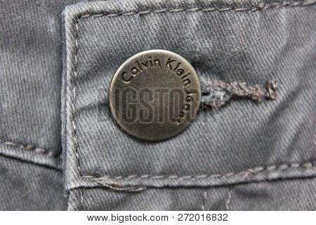 Moscow, Russia - November 5, 2018: Calvin Klein Jeans (ck) Buttoned Jeans Front View. Waistband Garm