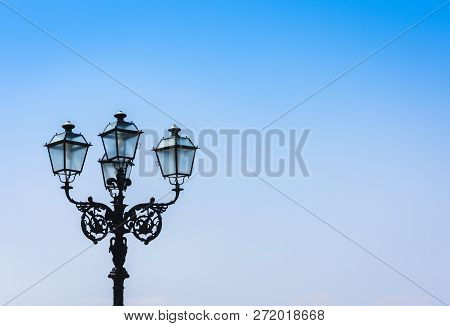 Old Street Lamppost - Vintage Light On Streets In Catania, Sicily, Italy