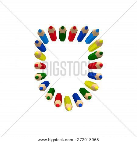 Color Pencils. Isolated On White Background. Vector Colorful Illustration.shield From Pencils.