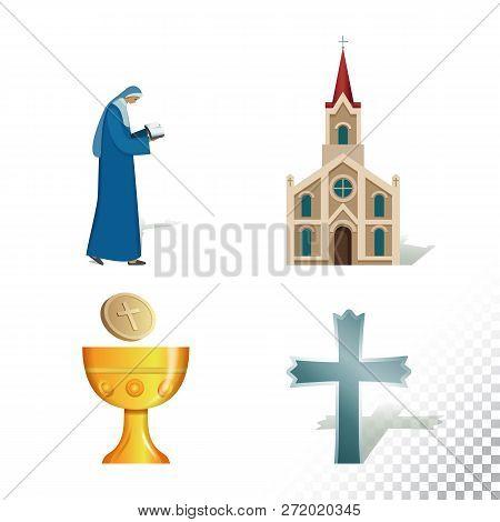 Vector Flat Icon Illustration Of Symbolizing Catholicism. Colorful Objects On A Transparent Backgrou