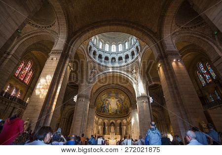 Paris, France, September 7, 2018 - Inner Of Sacre-coeur Basilique In Montmartre Paris, France