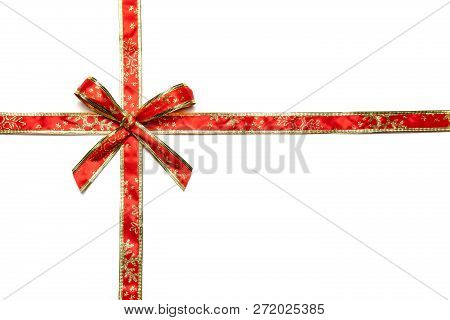 Shiny Red And Gold Ribbons With Bow Isolated On White Background
