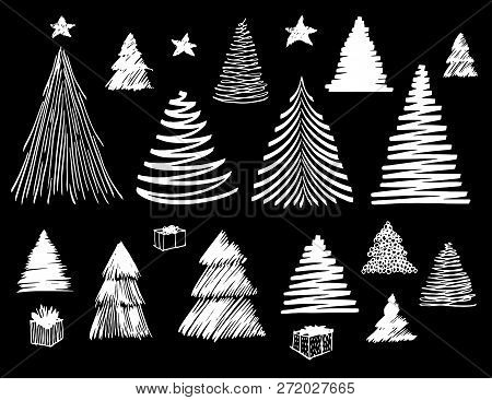 Big Set Of Christmas Tree Doodle. Hand Drawn Vector Conceptual Graphic Sketch Illustration. Stock El