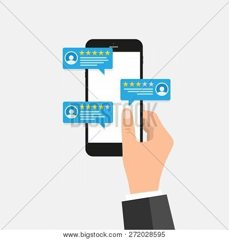 Review Rating On Mobile Phone Vector Illustration, Cartoon Isometric Smartphone Online Reviews Rate