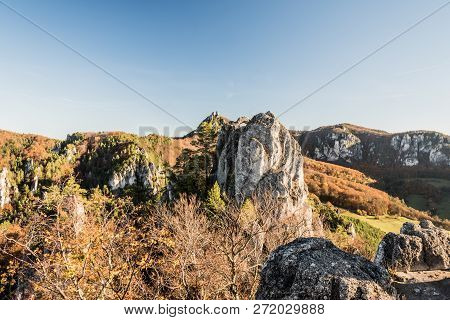 Scenery Of Beautiful Sulovske Skaly Mountains With Rocks, Colorful Forest And Clear Sky From Sulovsk