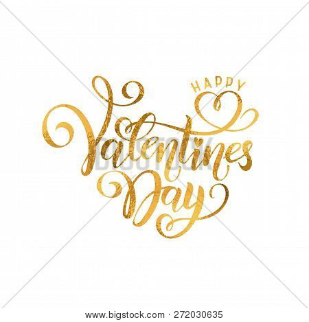 Vector Golden Foil Effect Handwritten Lettering Happy Valentines Day. Calligraphy Isolated Drawn Tex