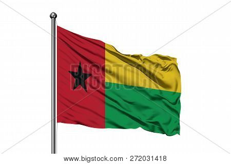 Flag Of Guinea Bissau Waving In The Wind, Isolated White Background. Guinean Flag.