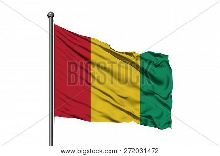 Flag Of Guinea Waving In The Wind, Isolated White Background. Guinean Flag.